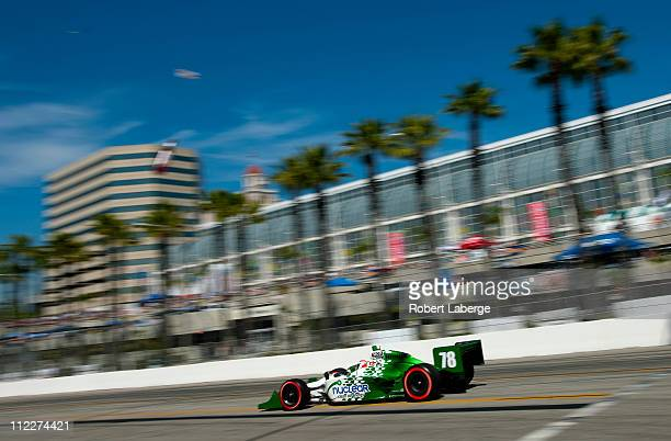 Simona De Silvestro of Switzerland driver of the Nuclear Clean Air Energy HVM Racing Dallara Honda during qualifying for the IndyCar Series Toyota...