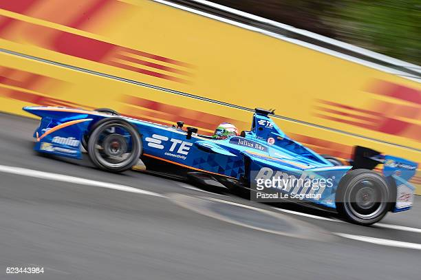 Simona De Silvestro of Switzerland on Andretti Formula E Racing team drives during a qualifying practice session at the round 7 of the FIA Formula E...