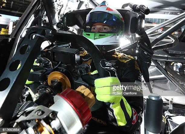 Simona De Silvestro of the Harvey Norman Supergirls Team poses during previews ahead of the Bathurst 1000 which is race 21 of the Supercars...