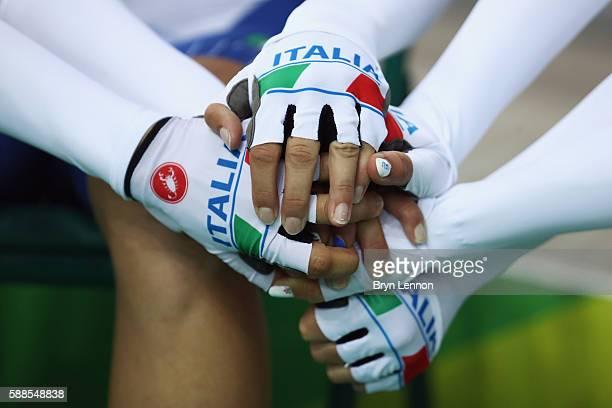 Simona Frapporti, Tatiana Guderzo, Francesca Pattaro and Silvia Valsecchi of Italy prepare to compete in the Women's Team Pursuit Track Cycling...