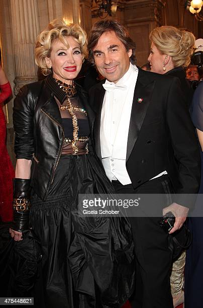 Simona Gandolfi and Hubertus Hohenlohe attend the traditional Vienna Opera Ball at Vienna State Opera on February 27 2014 in Vienna Austria