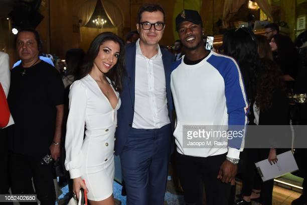 Simona Guatieri, Nicola Saraceno and Keita Balde attend Stroili Holy Gold Party on October 17, 2018 in Milan, Italy.