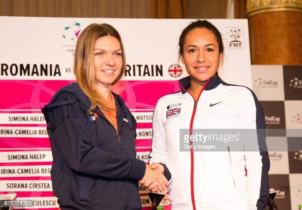 Simona Halep and Hetaher Watson pose for photos following a Great Britain Fed Cup training session at Tenis Club IDU on April 21 2017 in Constanta...