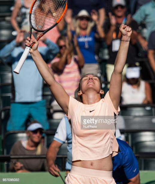 Simona Halep from Romania celebrates her victory against Ocean Dodin from France in their second round match during the Miami Open Presented by Itau...