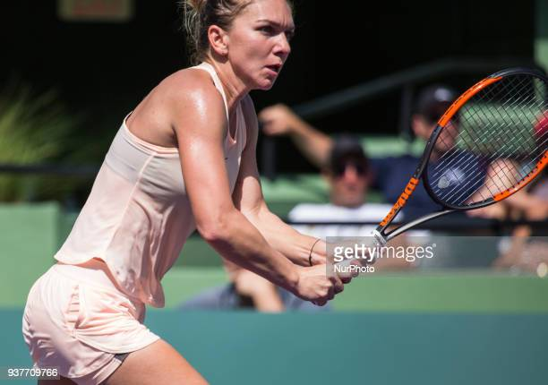 Simona Halep from Romania in action against Agniezka Rarwanska from Poland during her thrid round match at the Miami Open on March 24 2018 in Key...