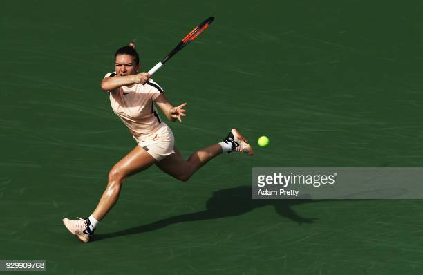 Simona Halep hits a forehand during her match against Kristyna Pliskova of the Czech Republic during the BNP Paribas Open at the Indian Wells Tennis...