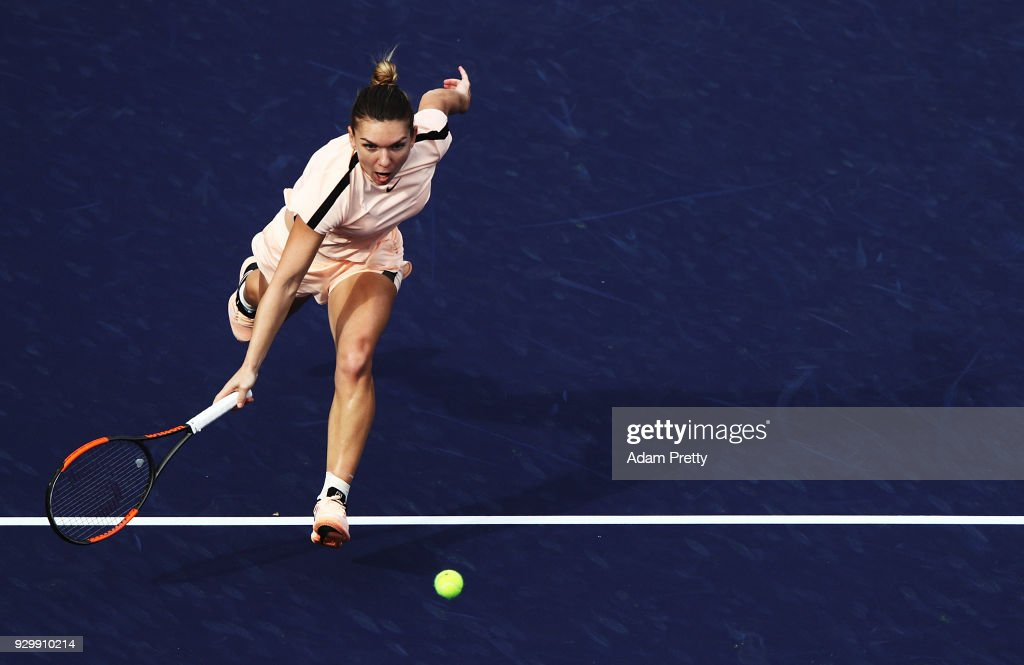 Simona Halep hits a forehand during her match against Kristyna Pliskova of the Czech Republic during the BNP Paribas Open at the Indian Wells Tennis Garden on March 9, 2018 in Indian Wells, California.