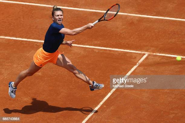 Simona Halep in action during the women's semifinal match against Kiki Bertens of Netherlands on Day Seven of the Internazionali BNL d'Italia 2017 at...