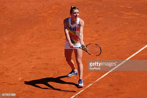 Simona Halep in action their match during day fourth of the Mutua Madrid Open tennis tournament at the Caja Magica on May 03 2016 in Madrid,Spain.