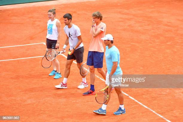Simona Halep Novak Djokovic Alexander Zverev and Rafael Nadal during the Charity Children's Day at the French Open 2018 on May 26 2018 in Paris France