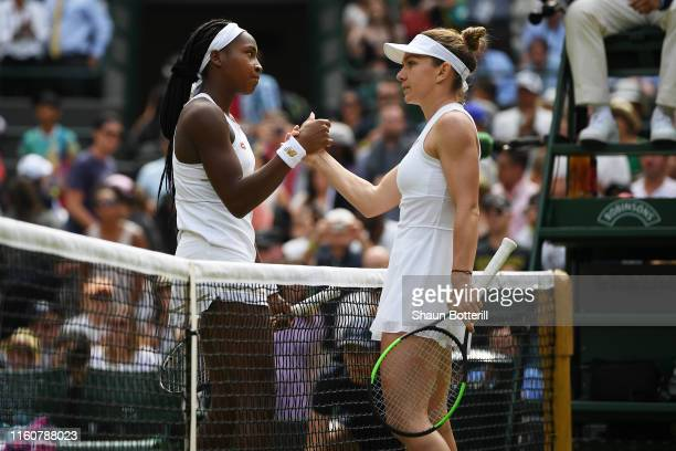 Simona Halep of Romania and Cori Gauff of the United States shake hands at the net following their Ladies' Singles fourth round match against Cori...