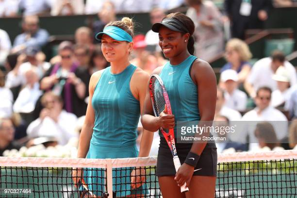 Simona Halep of Romania and Sloane Stephens of The United States pose for a photo before the ladies singles final during day fourteen of the 2018...
