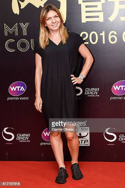Simona Halep of Romania arrives at the 2016 China Open Player Party at The Birds Nest on October 3 2016 in Beijing China