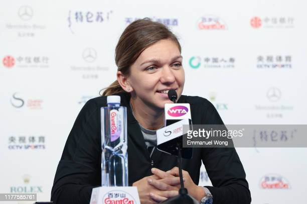 Simona halep of Romania attends the press conference at the China National Tennis Center on September 28, 2019 in Beijing, China.