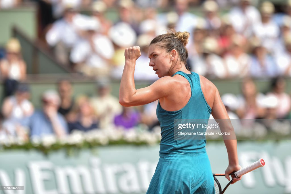 Simona Halep of Romania celebrates a point during the final during Day 14 of the French Open 2018 at Roland Garros on June 9, 2018 in Paris, France.