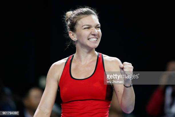 Simona Halep of Romania celebrates a point in her final match against Katerina Siniakova of the Czech Republic on Day 7 of 2018 WTA Shenzhen Open at...
