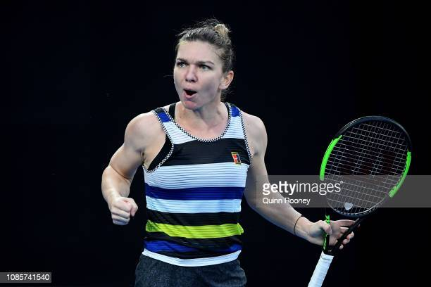 Simona Halep of Romania celebrates a point in her fourth round match against Serena Williams of the United States during day eight of the 2019...