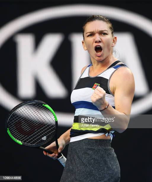 Simona Halep of Romania celebrates a point in her third round match against Venus Williams of the United States during day six of the 2019 Australian...