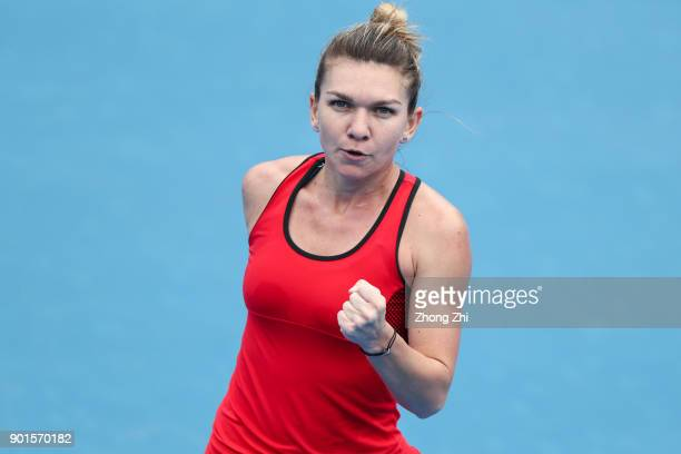Simona Halep of Romania celebrates a shot during the semi final match against IrinaCamelia Begu of Romania during Day 6 of 2018 WTA Shenzhen Open at...