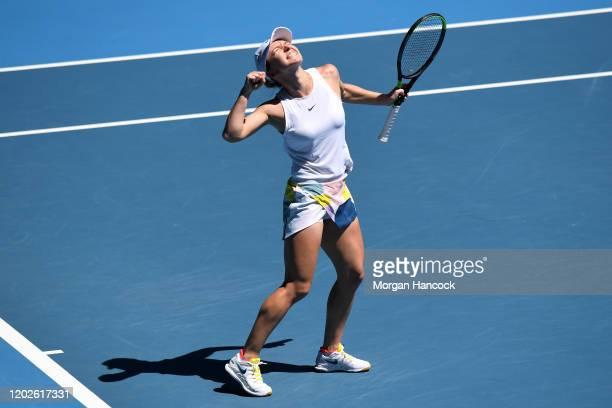 Simona Halep of Romania celebrates after winning her Women's Singles Quarterfinal match against Anett Kontaveit of Estonia on day ten of the 2020...