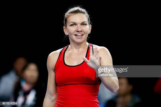 Simona Halep of Romania celebrates after winning the final match against Katerina Siniakova of Czech Republic during Day 7 of 2018 WTA Shenzhen Open...