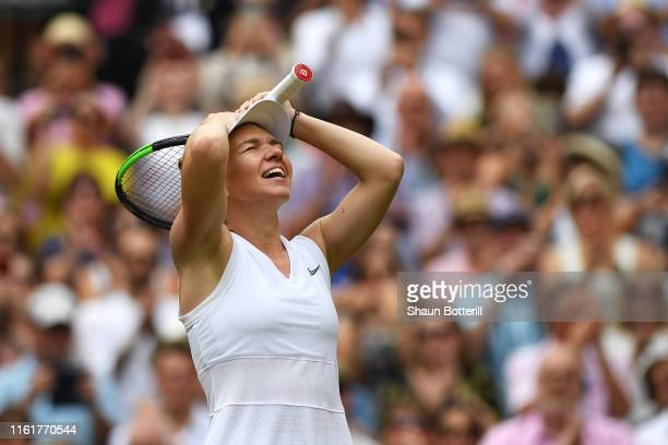 Simona Halep of Romania celebrates championship point in her Ladies' Singles final against Serena Williams of The United States during Day twelve of...