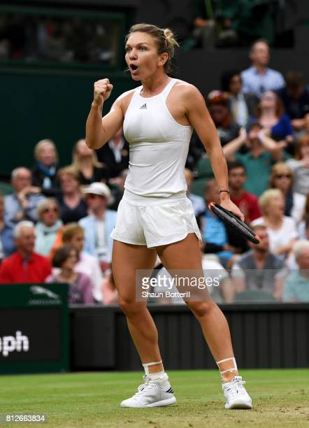 Simona Halep of Romania celebrates during the Ladies Singles quarter final match against Johanna Konta of Great Britain on day eight of the Wimbledon...