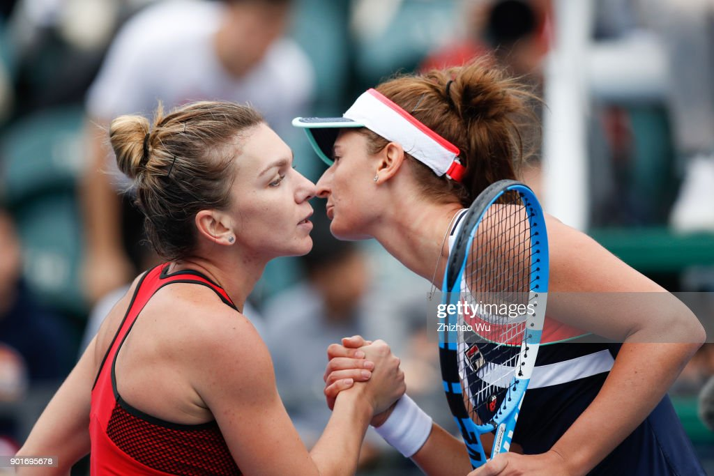 Simona Halep of Romania celebrates during the semi final match against Irina-Camelia Begu of Romania during Day 6 of 2018 WTA Shenzhen Open at Longgang International Tennis Center on January 5, 2018 in Shenzhen, China.