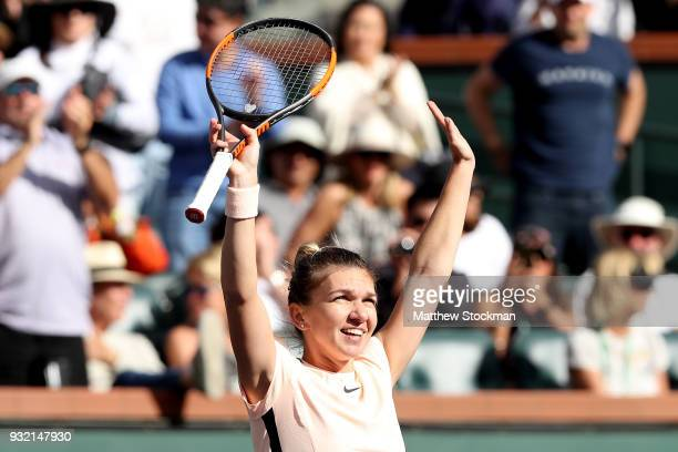 Simona Halep of Romania celebrates her win against Petra Martic of Croatia during the BNP Paribas Open at the Indian Wells Tennis Garden on March 14...