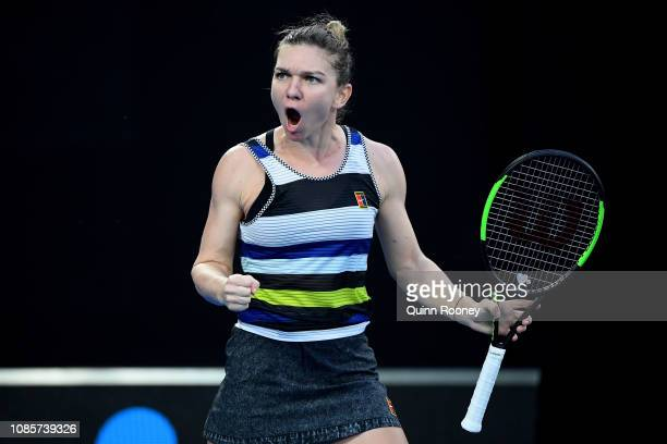 Simona Halep of Romania celebrates in her fourth round match against Serena Williams of the United States during day eight of the 2019 Australian...