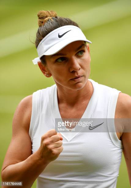 Simona Halep of Romania celebrates in her Ladies' Singles final against Serena Williams of The United States during Day twelve of The Championships -...