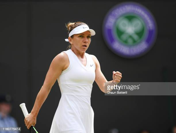 Simona Halep of Romania celebrates in her Ladies' Singles fourth round match against Cori Gauff of the United States during Day Seven of The...