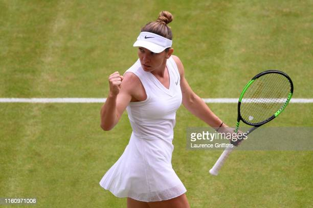 Simona Halep of Romania celebrates in her Ladies' Singles Quarter Final match against Shuai Zhang of China during Day Eight of The Championships...
