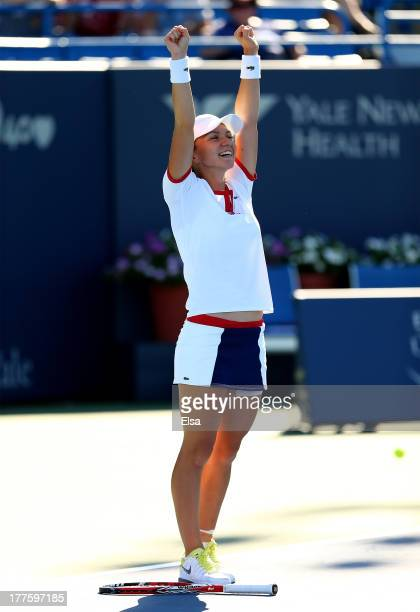 Simona Halep of Romania celebrates match point giving her the win over Petra Kvitova of the Czech Republic in the Women's Final on Day Seven of the...