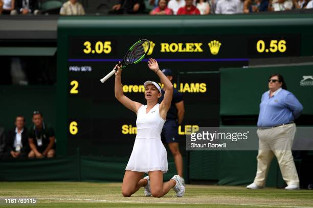 Simona Halep of Romania celebrates match point in her Ladies' Singles final against Serena Williams of The United States during Day twelve of The...