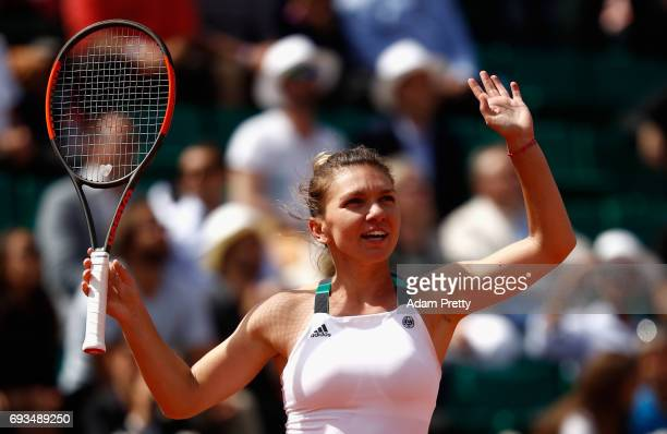 Simona Halep of Romania celebrates victory during ladies singles quarter finals match against Elina Svitolina of Ukraine on day eleven of the 2017...
