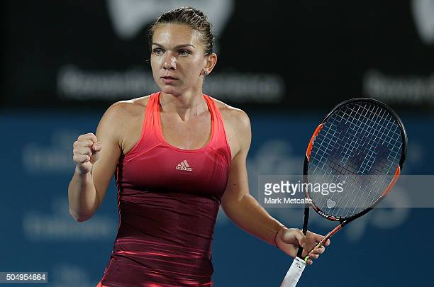 Simona Halep of Romania celebrates winning a point in her semifinal match against Svetlana Kuznetsova of Russia during day five of the 2016 Sydney...