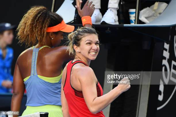 Simona Halep of Romania celebrates winning her fourth round match against Naomi Osaka of Japan on day eight of the 2018 Australian Open at Melbourne...