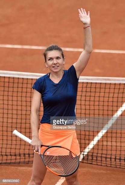 Simona Halep of Romania celebrates winning her semi final match against Kiki Bertens of the Netherlands during The Internazionali BNL d'Italia 2017...