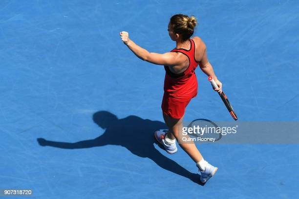 Simona Halep of Romania celebrates winning her third round match against Lauren Davis of the United States on day six of the 2018 Australian Open at...