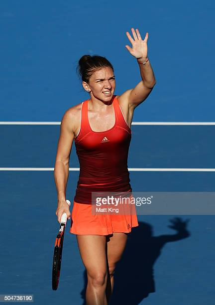 Simona Halep of Romania celebrates winning match point in her match against Karolina Pliskova of the Czech Republic during day four of the Sydney...