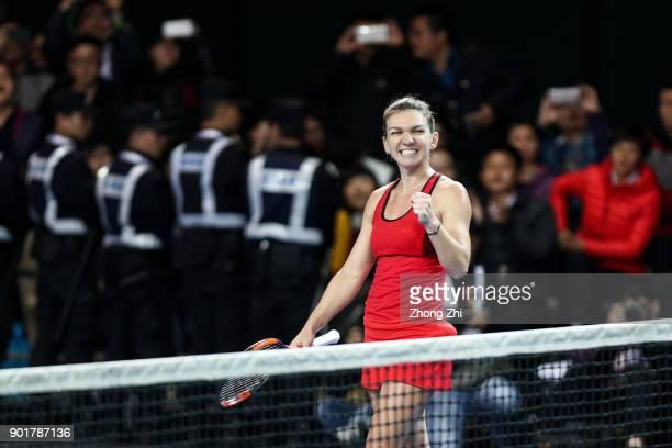 Simona Halep of Romania celebrates winning the final match against Katerina Siniakova of Czech Republic during Day 7 of 2018 WTA Shenzhen Open at...