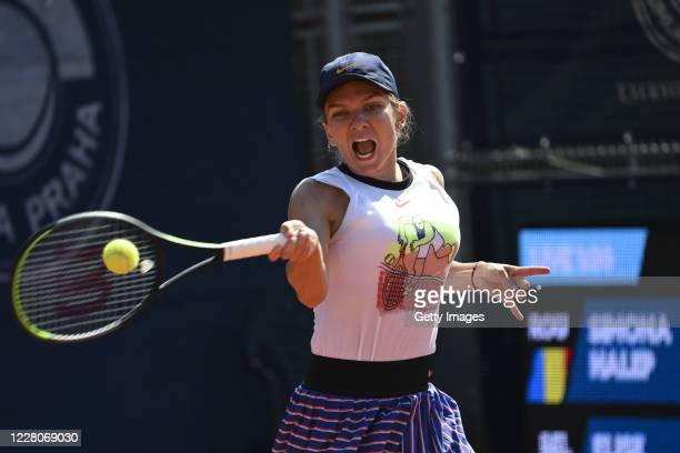 Simona Halep of Romania competes in the Women's Singles Final against Elise Mertens of Belgium during the WTA Prague Open tennis tournament at TK...