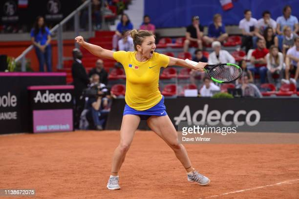 Simona Halep of Romania during the Fed Cup semifinal between France and Romania on April 21 2019 in Rouen France