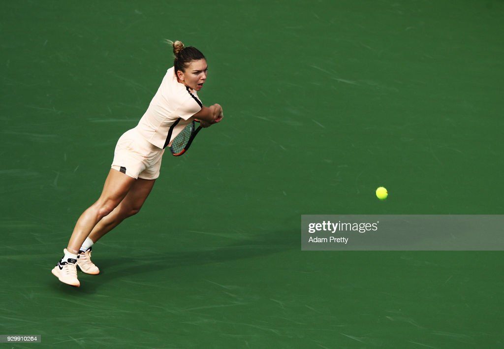 Simona Halep of Romania hits a backhand during her match against Kristyna Pliskova of the Czech Republic during the BNP Paribas Open at the Indian Wells Tennis Garden on March 9, 2018 in Indian Wells, California.