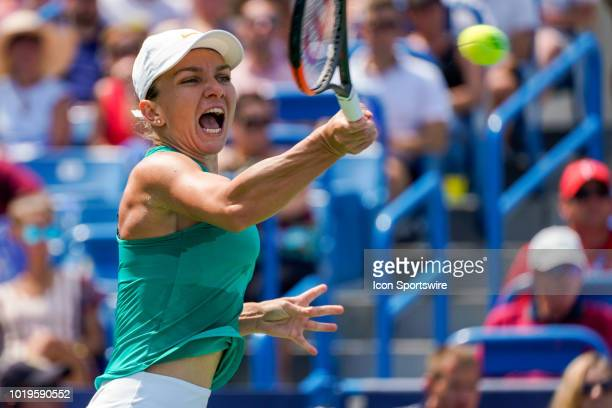 Simona Halep of Romania hits a forehand shot during the Western Southern Open singles final at the Lindner Family Tennis Center in Mason Ohio on...