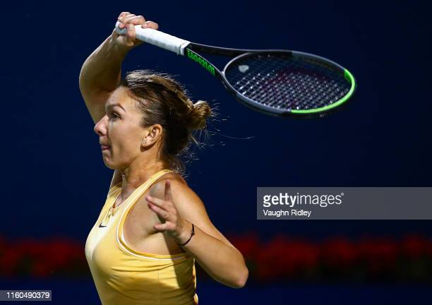 Simona Halep of Romania hits a shot against Marie Bouzkova of Czech Republic during a quarterfinal match on Day 7 of the Rogers Cup at Aviva Centre...