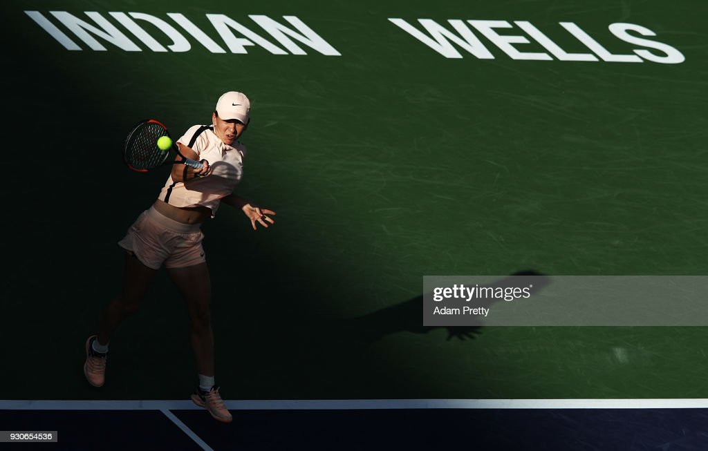 Simona Halep of Romania hits a shot during her match against Caroline Dolehide of the USA during the BNP Paribas Open at the Indian Wells Tennis Garden of the Czech Republic on March 11, 2018 in Indian Wells, California.