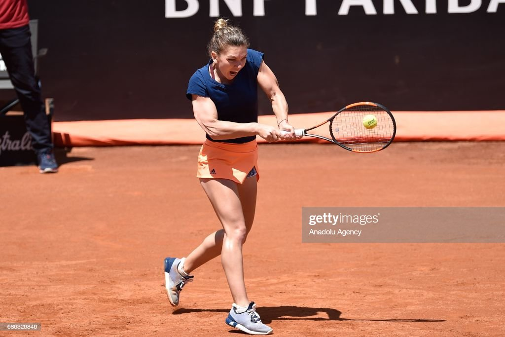 Simona Halep of Romania in action against Elina Svitolina (not seen) of Ukraine during their WTA Singles Final match within the Internazionali BNL d'Italia 2017 at the Foro Italico in Rome, Italy on May 21, 2017.