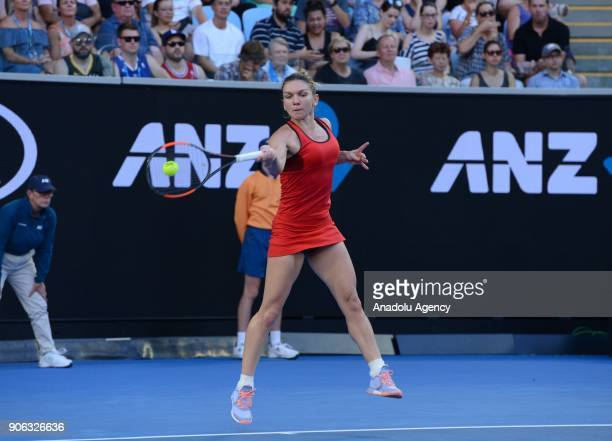 Simona Halep of Romania in action against Eugenie Bouchard of Canada during the fourth day of 2018 Australia Open at Melbourne Park in Melbourne...